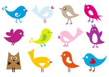 Lovely birds. Set of cute  birds Royalty Free Stock Images