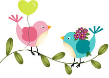 Lovely Birds with Balloon and Flowers Stock Photos