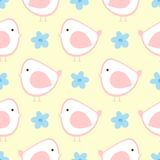 Lovely birds and flowers. Cute seamless pattern for children. Royalty Free Stock Photo