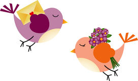 Lovely Birds with Flowers and Envelope Stock Image