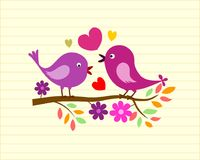 Lovely birds. Doodle ,valentine day card Stock Photos