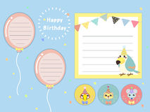 Lovely birthday party memos set Stock Images