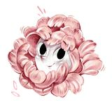 Lovely black eyed pink flower smiling face artistic pencil illustration drawing. Isolated on white decoration stock illustration