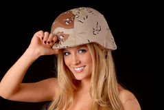 Lovely Blond Army Girl Royalty Free Stock Photo