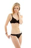 Lovely blond in black underwear Royalty Free Stock Image