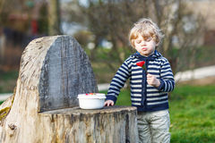 Lovely blond boy of two years eating strawberries outdoors Royalty Free Stock Photos