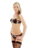Lovely blond in brown lingerie #3 Stock Photo