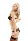 Lovely blond in brown lingerie #2 Stock Photo