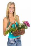 Lovely Blond Gardening Woman Royalty Free Stock Photos