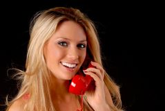 Lovely Blond Girl on telephone Stock Photos