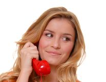 Lovely Blond Girl on telephone royalty free stock photos