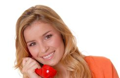 Lovely Blond Girl on telephone stock image