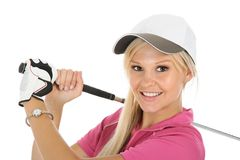 Lovely Blond Golf Woman Stock Images