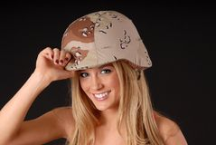 Lovely Blond Soldier Girl Royalty Free Stock Photo