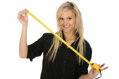 Lovely Blond with Tape Measure Royalty Free Stock Image