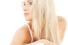 Lovely blonde in bed. Bright picture of lovely blonde in bed Stock Images