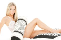 Lovely blonde in bed Stock Photos