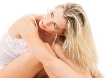 Lovely blonde in bed Stock Photo