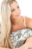Lovely blonde in bed Stock Images