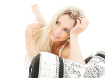 Lovely blonde in bed. Bright picture of lovely blonde in bed Stock Photography