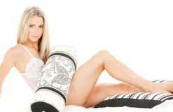 Lovely blonde in bed Royalty Free Stock Images