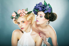 Lovely Blonde and brunette - seduction Royalty Free Stock Photos