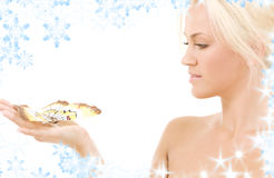 Lovely blonde with butterfly Royalty Free Stock Photos