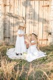 Lovely blonde girl sisters in white dresses and straw hats laugh and eat apples in the countryside Royalty Free Stock Image