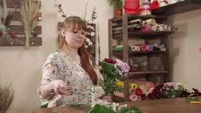 Lovely blonde girls works as a florist. Portrait of a charming blonde woman working with flowers indoor. She is assembling a beautiful bouquet stock footage