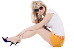 Lovely blonde in sunglasses over white Stock Photography