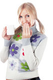 Lovely blonde in a sweater with flowers Royalty Free Stock Images