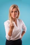 Lovely blonde wearing white blouse Royalty Free Stock Photography