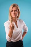 Lovely blonde wearing white blouse Stock Photos