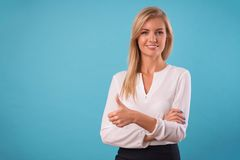 Lovely blonde wearing white blouse Stock Images