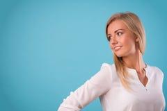 Lovely blonde wearing white blouse Stock Photo
