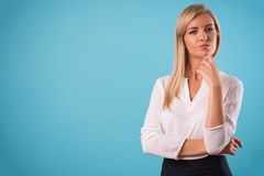 Lovely blonde wearing white blouse Stock Photo