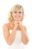 Lovely blonde in white dress laughs Royalty Free Stock Photos