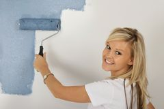 Lovely Blonde  Woman Painting Stock Photography