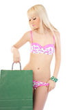 Lovely blonde woman with shopping bag Stock Photos