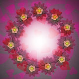 Lovely blossom circle card motive on romantic cloth Stock Image