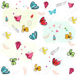Lovely blossom spring flowers vector pattern background Stock Images
