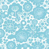 Lovely blue florals silhouettes seamless pattern Stock Photos