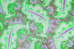 Lovely botanic paisley pattern. A close up of a colorful printed shabby chic  paisley pattern in , green and grey Stock Photo