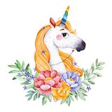 Lovely bouquet with peony,rose,leaves,flowers,branches and cute unicorn. Watercolor bouquets for your design.Perfect for wedding,invitations,blogs,template card Stock Illustration