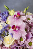 Lovely bouquet of pink orchids, chrysanthemums and hortensias Royalty Free Stock Photos