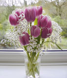 Lovely Bouquet of Tulips to Brighten the Day. This beautiful bouquet of flowers I brought at the supermarket in the village of Totnes Devon England.  The flowers Royalty Free Stock Images