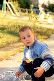 Lovely boy with chalks Royalty Free Stock Images