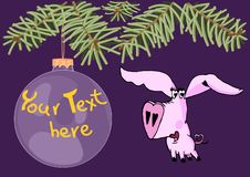 Lovely boy pig under christmas tree and hanging big christmas toy with copy space vector illustration