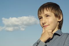 Lovely boy posing outdoors Royalty Free Stock Photo