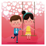 Lovely boy pushing girl swing happy heart background Stock Photos